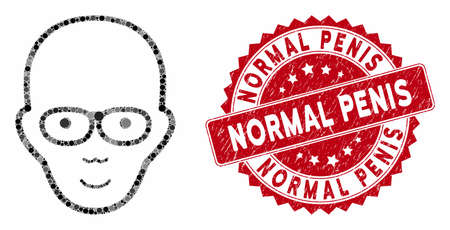 Mosaic bald head and distressed stamp watermark with Normal Penis text. Mosaic vector is designed with bald head icon and with random circle spots. Normal Penis stamp seal uses red color,