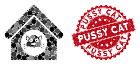 Mosaic cat house and grunge stamp seal with Pussy Cat caption. Mosaic vector is created from cat house icon and with randomized circle spots. Pussy Cat stamp seal uses red color, and distress design. Stock Illustratie