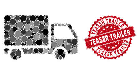 Mosaic delivery lorry and corroded stamp seal with Teaser Trailer caption. Mosaic vector is created with delivery lorry icon and with scattered round items. Teaser Trailer seal uses red color, Stock Vector - 133430669