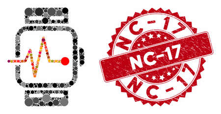 Mosaic medical watches and corroded stamp seal with Nc-17 caption. Mosaic vector is created with medical watches icon and with randomized round spots. Nc-17 stamp seal uses red color, Ilustrace