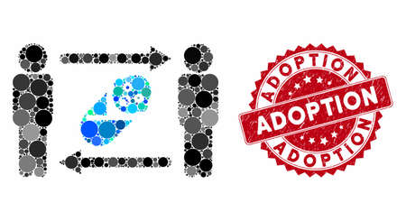 Mosaic persons newborn exchange and grunge stamp seal with Adoption text. Mosaic vector is composed from persons newborn exchange icon and with scattered round items.