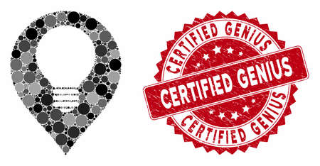 Mosaik-Glühbirnenmarkierung und Gummistempelsiegel mit Certified Genius-Beschriftung. Der Mosaikvektor ist mit einem Glühbirnen-Markierungssymbol und mit zufälligen kugelförmigen Punkten versehen. Das zertifizierte Genius-Siegel verwendet rote Farbe, Vektorgrafik