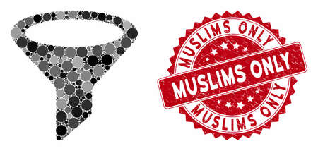 Mosaic filter and rubber stamp seal with Muslims Only text. Mosaic vector is composed with filter icon and with random circle elements. Muslims Only stamp seal uses red color, and grunge design. Çizim