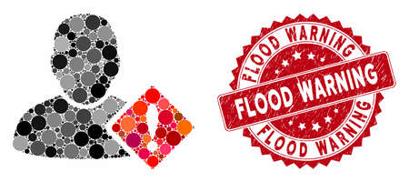 Mosaic user problem and corroded stamp seal with Flood Warning text. Mosaic vector is designed with user problem icon and with random circle spots. Flood Warning seal uses red color,