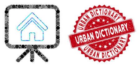 Mosaic house project and grunge stamp seal with Urban Dictionary caption. Mosaic vector is designed from house project icon and with random spheric items. Urban Dictionary stamp seal uses red color, Standard-Bild - 133430728