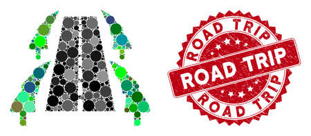 Mosaic tree alley road and grunge stamp seal with Road Trip phrase. Mosaic vector is formed with tree alley road icon and with random spheric spots. Road Trip stamp uses red color, and grunge design. Stock fotó - 133430756