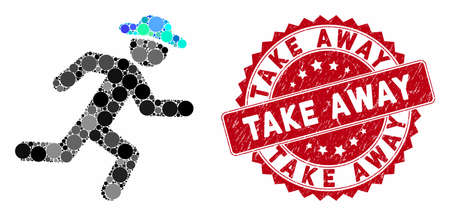 Mosaic running gentleman and rubber stamp seal with Take Away caption. Mosaic vector is created with running gentleman icon and with random spheric spots. Take Away stamp seal uses red color,