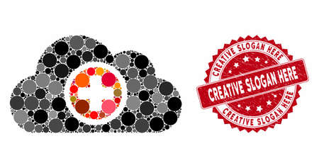 Mosaic health care cloud and rubber stamp seal with Creative Slogan Here phrase. Mosaic vector is created with health care cloud icon and with scattered round spots. Illustration