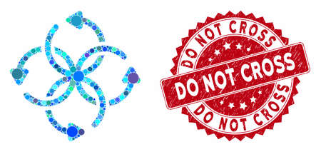 Collage knot rotation and distressed stamp seal with Do Not Cross text. Mosaic vector is created with knot rotation icon and with random spheric spots. Do Not Cross stamp seal uses red color,