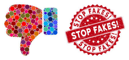 Mosaic thumb down and grunge stamp seal with Stop Fakes! text. Mosaic vector is designed with thumb down icon and with randomized circle spots. Stop Fakes! seal uses red color, and distress surface.