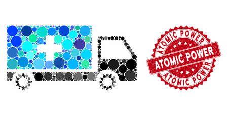 Mosaic service car and rubber stamp watermark with Atomic Power caption. Mosaic vector is created from service car icon and with random round elements. Atomic Power stamp seal uses red color, Иллюстрация