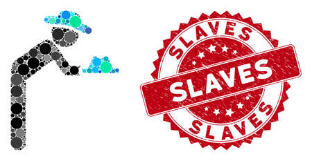 Mosaic gentleman servant and corroded stamp seal with Slaves phrase. Mosaic vector is formed with gentleman servant icon and with random round elements. Slaves stamp seal uses red color,