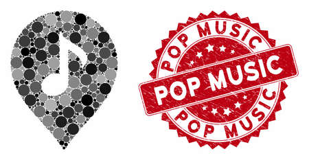 Mosaic music marker and rubber stamp seal with Pop Music phrase. Mosaic vector is created with music marker icon and with random circle items. Pop Music stamp seal uses red color, and dirty design. Фото со стока - 133430781