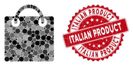 Mosaic shopping bag and grunge stamp seal with Italian Product text. Mosaic vector is composed with shopping bag icon and with scattered circle spots. Italian Product stamp uses red color,