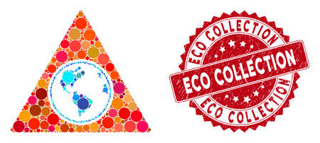 Collage terra triangle and rubber stamp watermark with Eco Collection phrase. Mosaic vector is designed with terra triangle icon and with random circle items. Eco Collection stamp uses red color,