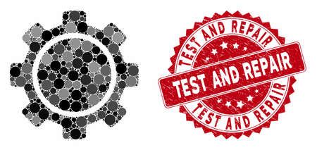 Mosaic gear and rubber stamp seal with Test and Repair phrase. Mosaic vector is designed with gear icon and with random spheric spots. Test and Repair stamp seal uses red color, and rubber design. Stock Illustratie