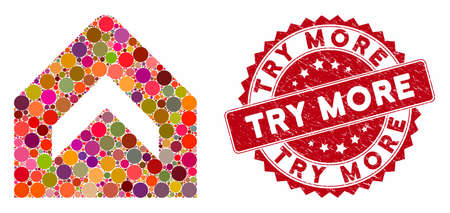 Mosaic more and rubber stamp seal with Try More phrase. Mosaic vector is composed with more icon and with scattered round items. Try More stamp seal uses red color, and distress surface.