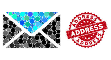 Mosaic mail and corroded stamp seal with Address text. Mosaic vector is composed with mail icon and with scattered spheric elements. Address stamp uses red color, and scratched surface.
