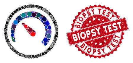 Mosaic speedometer and grunge stamp seal with Biopsy Test caption. Mosaic vector is designed from speedometer icon and with randomized round spots. Biopsy Test stamp seal uses red color,