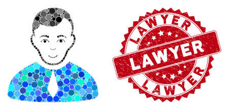 Mosaic lawyer and corroded stamp watermark with Lawyer caption. Mosaic vector is designed with lawyer icon and with random circle spots. Lawyer stamp uses red color, and dirty texture.