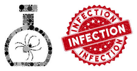 Mosaic parasite container retort and corroded stamp seal with Infection caption. Mosaic vector is formed with parasite container retort icon and with random spheric elements. Stock Illustratie