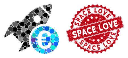 Mosaic Euro startup rocket and distressed stamp seal with Space Love text. Mosaic vector is formed with Euro startup rocket icon and with randomized round spots. Space Love seal uses red color,