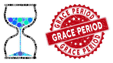 Collage hourglass and rubber stamp seal with Grace Period caption. Mosaic vector is designed with hourglass icon and with randomized spheric spots. Grace Period stamp seal uses red color,