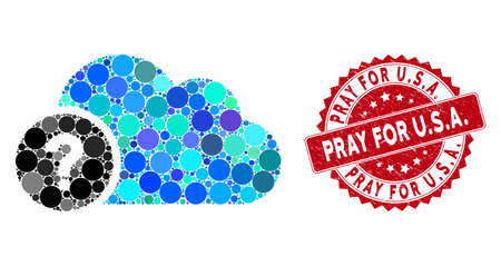 Mosaic question and grunge stamp seal with Pray for U.S.A. caption. Mosaic vector is formed with question icon and with scattered circle items. Pray for U.S.A. stamp uses red color,