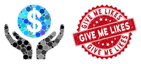 Mosaic financial maintenance hands and rubber stamp watermark with Give Me Likes caption. Mosaic vector is formed with financial maintenance hands icon and with randomized circle spots.