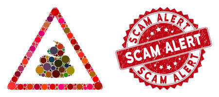 Mosaic shit warning and grunge stamp seal with Scam Alert text. Mosaic vector is formed with shit warning icon and with randomized spheric elements. Scam Alert stamp seal uses red color,