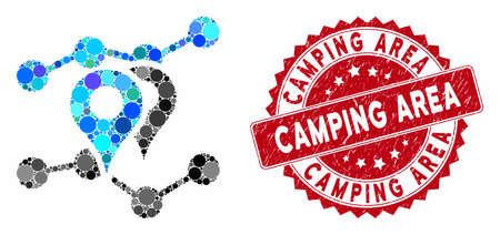 Mosaic geo trends and corroded stamp seal with Camping Area phrase. Mosaic vector is created with geo trends icon and with scattered spheric spots. Camping Area stamp seal uses red color,