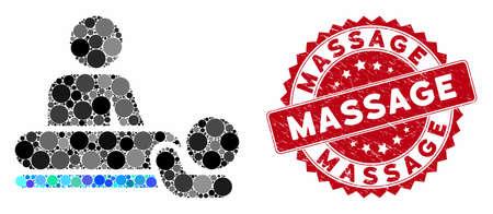 Mosaikmassage und Grunge-Stempelsiegel mit Massagephrase. Der Mosaikvektor ist mit einem Massagesymbol und mit randomisierten sphärischen Punkten ausgestattet. Massagesiegel verwendet rote Farbe und Grunge-Design. Vektorgrafik