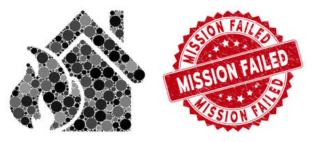 Mosaic realty fire disaster and distressed stamp seal with Mission Failed caption. Mosaic vector is created with realty fire disaster icon and with random circle elements.