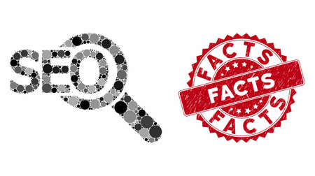 Mosaic seo tool and distressed stamp seal with Facts caption. Mosaic vector is designed with seo tool icon and with randomized circle spots. Facts stamp uses red color, and scratched texture.