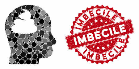 Mosaic shit brain and grunge stamp seal with Imbecile caption. Mosaic vector is created with shit brain icon and with randomized spheric items. Imbecile stamp seal uses red color,