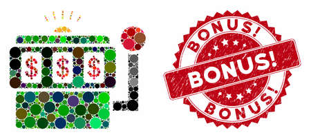 Mosaic slot machine and distressed stamp watermark with Bonus! phrase. Mosaic vector is created with slot machine icon and with random round spots. Bonus! stamp uses red color, and distress surface.