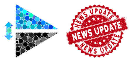 Mosaic flip vertically and corroded stamp seal with News Update caption. Mosaic vector is formed with flip vertically icon and with random circle spots. News Update stamp seal uses red color,