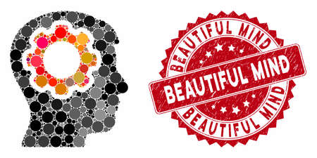 Mosaic human mind gear and rubber stamp seal with Beautiful Mind text. Mosaic vector is designed with human mind gear icon and with randomized circle elements.