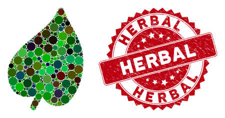 Mosaic leaf and grunge stamp seal with Herbal text. Mosaic vector is composed from leaf icon and with randomized round elements. Herbal stamp seal uses red color, and grunge surface. Ilustração
