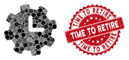 Mosaic time settings and grunge stamp watermark with Time to Retire caption. Mosaic vector is composed with time settings icon and with scattered round items. Time to Retire stamp uses red color,