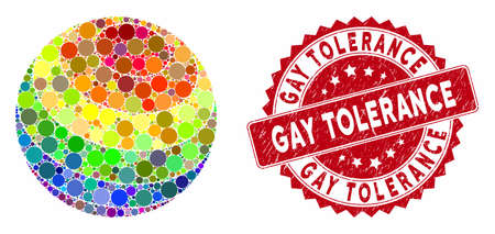 Mosaic LGBT color stripes sphere and distressed stamp watermark with Gay Tolerance caption. Mosaic vector is composed with LGBT color stripes sphere icon and with scattered spheric elements. Ilustração