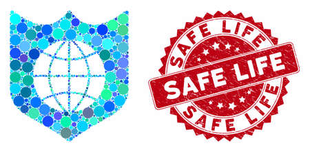 Mosaic global shield and rubber stamp watermark with Safe Life caption. Mosaic vector is formed with global shield icon and with randomized round elements. Safe Life stamp seal uses red color,