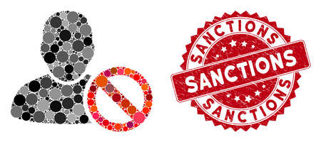 Mosaic forbidden user and distressed stamp seal with Sanctions phrase. Mosaic vector is designed from forbidden user icon and with random round spots. Sanctions stamp seal uses red color, Фото со стока - 133430982