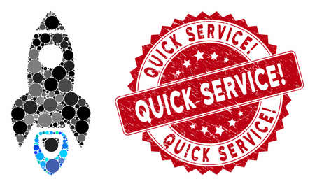 Collage space rocket and rubber stamp seal with Quick Service! phrase. Mosaic vector is composed with space rocket icon and with randomized circle elements. Quick Service! stamp seal uses red color, Illusztráció