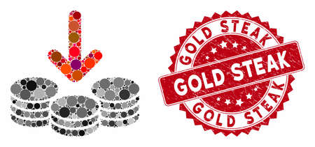 Collage income coins and distressed stamp seal with Gold Steak text. Mosaic vector is composed with income coins icon and with scattered round elements. Gold Steak stamp seal uses red color,