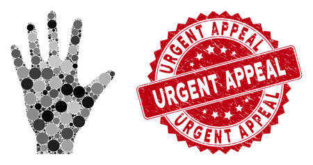 Mosaic hand and grunge stamp seal with Urgent Appeal caption. Mosaic vector is created from hand icon and with scattered spheric spots. Urgent Appeal stamp seal uses red color, and grunge surface. Illustration