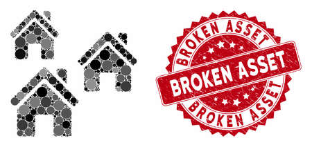Mosaic village buildings and rubber stamp seal with Broken Asset text. Mosaic vector is designed with village buildings icon and with randomized spheric items. Broken Asset stamp uses red color, 일러스트