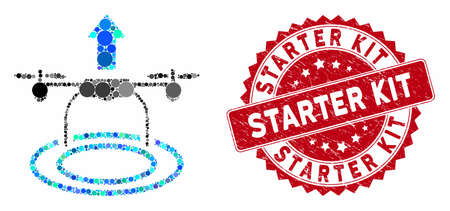 Mosaic start drone and grunge stamp seal with Starter Kit caption. Mosaic vector is designed with start drone icon and with randomized circle spots. Starter Kit stamp seal uses red color,