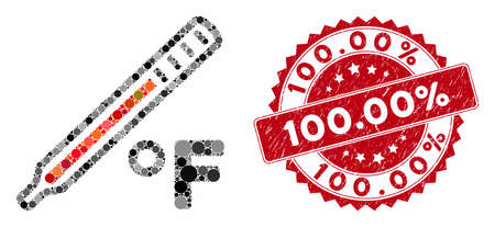 Collage fahrenheit medical thermometer and distressed stamp seal with 100.00% phrase. Mosaic vector is created with fahrenheit medical thermometer icon and with randomized spheric items. 100.