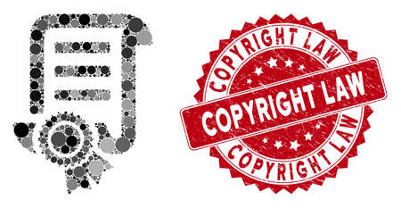 Mosaic patent and rubber stamp seal with Copyright Law text. Mosaic vector is designed with patent icon and with scattered spheric items. Copyright Law stamp seal uses red color, and rubber design.
